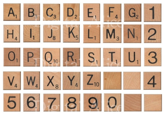 vintage scrabble buchstaben instant download digitale. Black Bedroom Furniture Sets. Home Design Ideas
