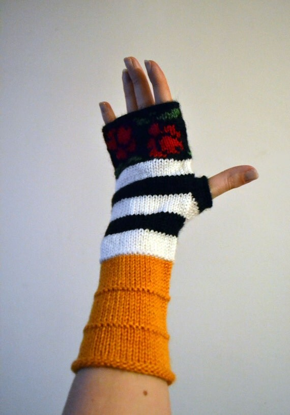 Orange Fingerless Gloves -  Fingerless Gloves with Roses - Orange Wool Gloves - Winter Accesories - Yellow Gloves - Fashion Gloves nO 94.