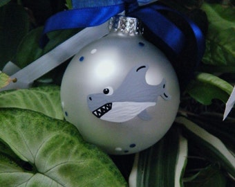 Shark Ornament - Personalized - Hand Painted Christmas Glass Ball - Sea Creature, Shark Decor - Great White Shark Bauble, Christmas Ornament