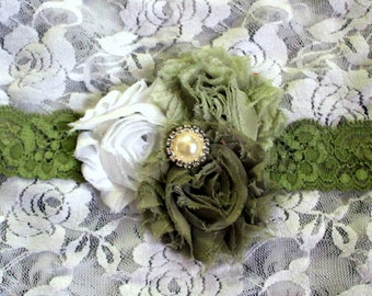 Shades of Green Flower and Lace Headband Choose Your Size Baby Little Girls Hair Accessory Green Flower Headband