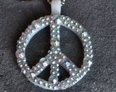 Peace Sign Necklace with Swarovski Crystals by Kim Lugar