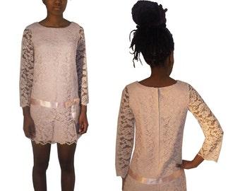 Vintage Short Stops Ronnie Fashions Light Pink See Thru Mesh Lace Scallop Edge Short Mini Mod Dress w/ Satin Waist Bow Belt Detail SZ 7
