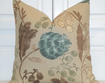 DOUBLE SIDED - Teal Floral Decorative Pillow Cover - Accent Pillow - Tan - Brown - Ivory - Basketweave Texture