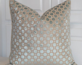 VELVET GEO In MINERAL - Decorative Pillow Cover - Robert Allen - Geometric Dot Pillow - Spa Blue