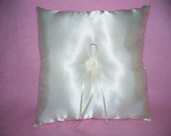 "Wedding Ivory Satin Ring Bearer Pillow  (6"" X 6"")"