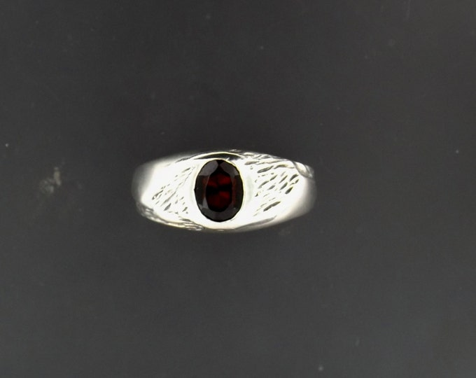 Sterling Silver Ring with Red Zircon