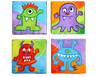 Custom Art for Kids, LITTLE MONSTERS, Four 5x5 acrylic canvases, Kids Room Decor, Playroom Art, Nursery Art