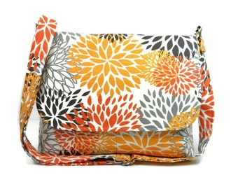 Floral Cross Body Bag, Fabric Pocketbook, Cotton Purse, Women's Messenger Bag, Premier Prints Blooms Slub Chili Pepper, Gray Orange Bag