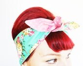 Vintage Inspired Head Scarf, Shabby Chic,Green Floral, Pink Dots, Rockabilly, 1950s