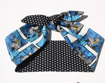 Vintage Inspired Head Scarf, Batman, Comic Book, Polka Dots, Retro
