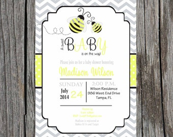 Bumblebee Baby Shower Invitation- Bee Baby Shower - gender neutral - Printable file - customization included.