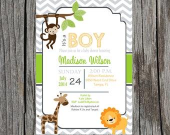 Jungle Baby Shower Invitation, baby boy Jungle baby shower, lion, giraffe, monkey invitation