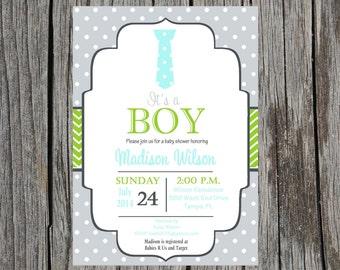 Little Man Baby Shower Invitation, tie baby shower, baby boy, little boy, little man, tie, DIY And printable