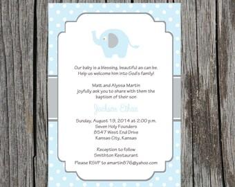 Printed Baptism Invitations, elephant Baptism  Invitation, baby boy baptism invitation