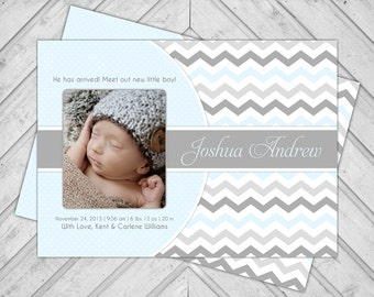 Chevron baby announcement card - baby boy birth announcement - photo card - blue and gray - printable (111)