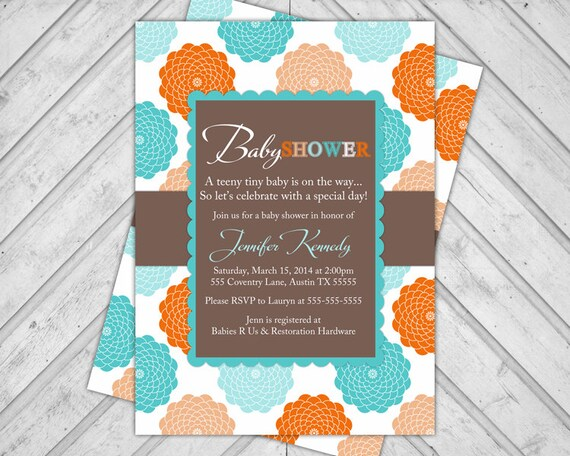 Neutral Baby Shower Invitation, Baby Shower Invite, Turquoise, Orange, Brown Flowers, DIY Printable or Printed (776)