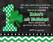 St. Patrick's Day 1st Birthday Invitation - Printable or Printed - Saint Patrick's Day Birthday Invites for ANY AGE