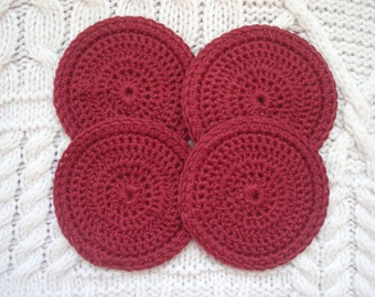Pure Organic Cotton Exfoliating Pads Facial Scrubbies Deep RED  set of four