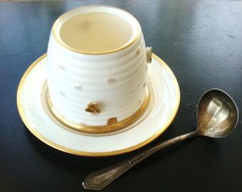 Vintage Sale Lenox White Honey Jar 24 Carat Gold