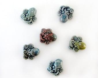 Peruvian Ceramic Raku Small Octopus Beads