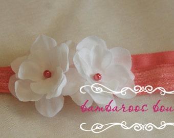 White baby headband on soft coral elastic, newborn headband, small dainty white flower headband, infant headband, toddler, photography prop