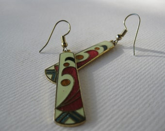 Vintage 1970s Long Enamel Dangle earrings