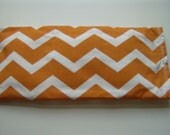 Warm or Cold Flax Seed Eye Pillow with REMOVABLE COVER Orange White Chevron