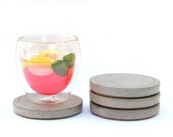 SALE: Round Concrete Coaster - set of 4