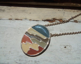 70s SARAH COVENTRY--Multicolor Enamel Pendant Necklace--Oval--Signed