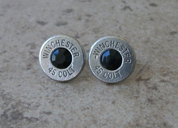 45 Colt Winchester Bullet Earring, Nickel Finish, Lightweight Thin Cut, Jet Black Swarovski Crystal, Surgical Steel Post - 481