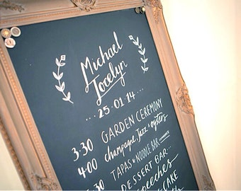 CHALKBOARD Rustic Wedding Sign MAGNETIC Chalk Board Kitchen Brown Grey Gray Home Decor Bulletin Board Old World Distressed Modern