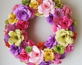 Paper Flower Spring Summer 12 to 13 Inch Wreath Assorted   Paper Roses or Custom Order