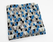 Cotton Pocket Square in triangles of royal blue