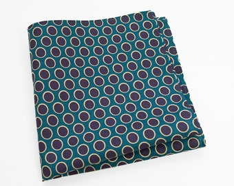 Cotton Pocket Square with navy blue dots
