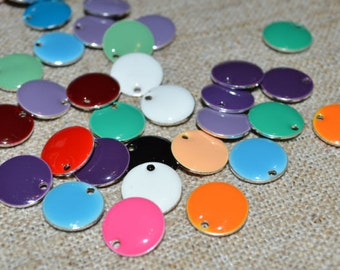 12pcs 12mm Charms Silver Plated Colored Epoxy Round Mixed Colors