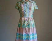 20 % OFF SHOP SALE... 1960s mod checkered pastel colors mini dress S