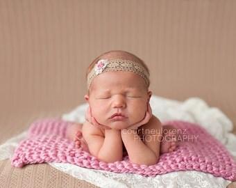 Baby Blanket - Newborn Photo Prop - Pink