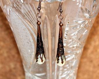 Antique Copper Filigree Glass Pearl Earrings Reiki Energy