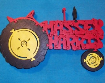 Massey Harris Tractor Wooden Scroll Saw Puzzle