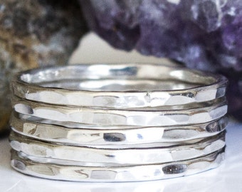 Sterling Stack Ring Hammered Set - 5 Band Sterling Silver