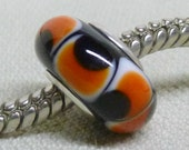 SRA Handmade Lampwork Bead Silver Cored Bead Black with White and Orange Design