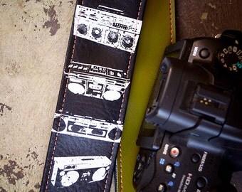 Vintage Boombox Camera Strap, Vegan with Boom Box Screenprint