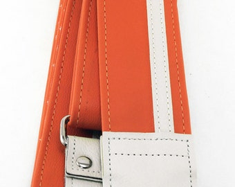 Orange and White Racing Stripe Guitar Strap - Super 60s Vegan