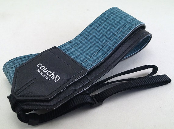 Vintage Pontiac GTO Camera Strap Camera Strap- Made of 60s Blue Houndstooth GTO and Firebird Car Vinyl