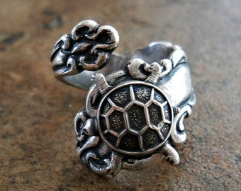 Turtle Spoon Ring, Turtle Ring, Turtle Spoon Ring, Silver Spoon Ring