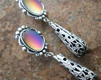 Mood Earrings in Silver, Color Changing Earrings Exclusive Design by Enchanted Lockets