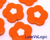 6 Huge Floral Acrylic Beads Charms. 2 Tones. Dark Orange. 31mm.