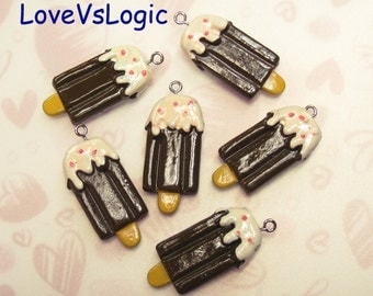 4 Ice Cream Bar with Cream Lucite Charms. Chocolate Tone.