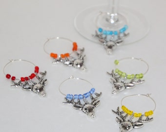 Reindeer Wine Glass Charms Set of 6