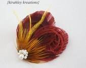 TIA in BURGUNDY -- Peacock Feather Hair Clip w/ Golden Mustard Yellow Accent Feathers & Freshwater Pearls for a Brides Autumn Fall Wedding